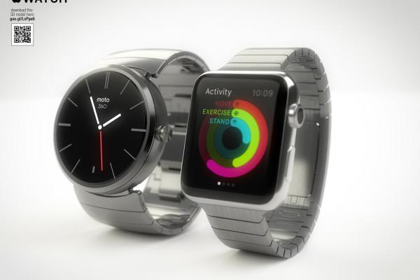 Apple Watch comparat cu Moto 360, Samsung Gear 2 Neo și Pebble Steel Într-o serie de randări profesioniste