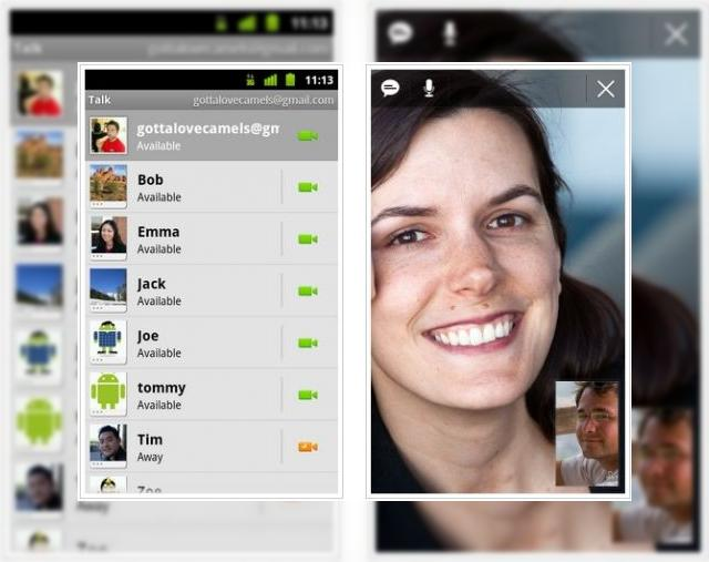 Android 2 3 4 vine cu video chat prin Google Talk